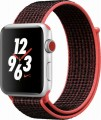 Apple - Apple Watch Nike+ Series 3 (GPS + Cellular), 42mm Silver Aluminum Case with Bright Crimson/Black Nike Sport Loop - Silver Aluminum