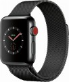 Apple Watch Series 3 (GPS + Cellular), 38mm Space Black Stainless Steel Case with Space Black Milanese Loop - Space Black Stainless Steel